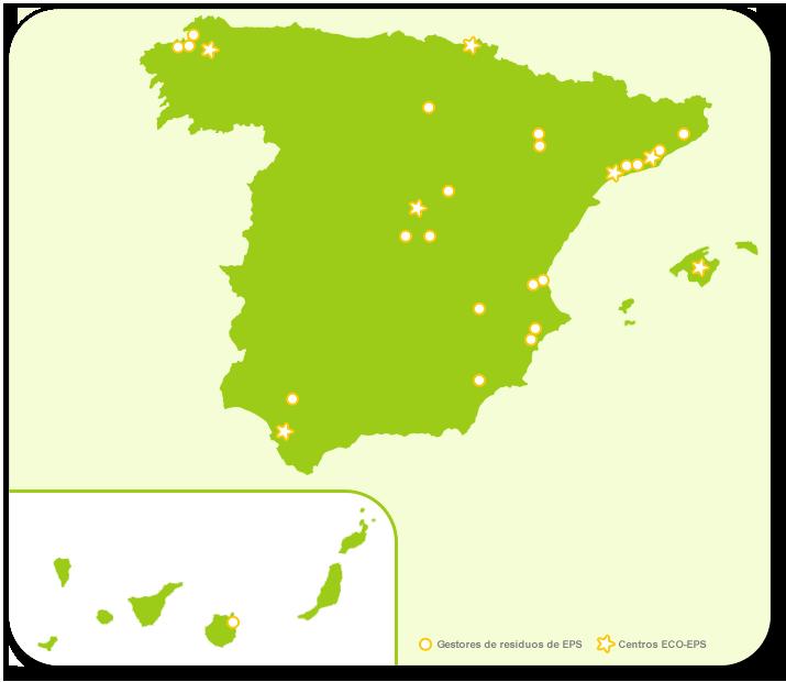 Mapa de centros para el reciclaje del corcho blanco